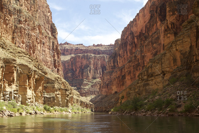 Low angle view of Grand Canyon from Colorado River, Arizona, USA