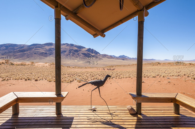 View from luxury camp lodge in the Namibrand Nature Reserve , Namibia