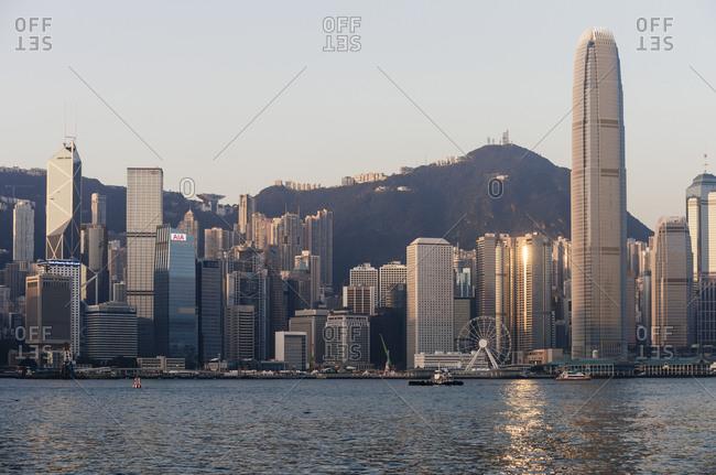 Dawn over Hong Kong Central skyline, Avenue of Stars, Kowloon, Hong Kong, China