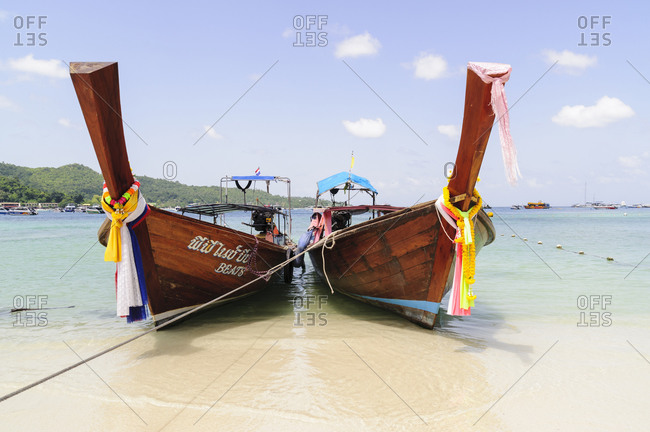 Two traditional boat on beach, Phi Phi Islands, Thailand
