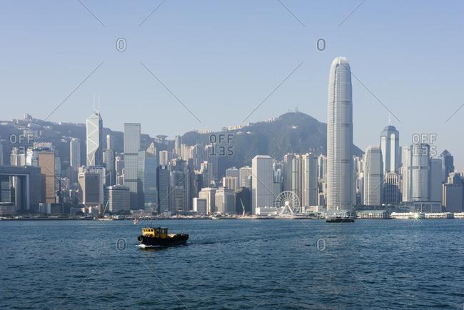 Boats in Hong Kong harbour, Avenue of Stars, Tsim Sha Tsui Waterfront, Hong Kong, China