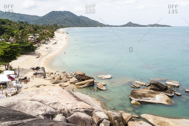 High angle view of rocks and coast, Koh Samui, Thailand