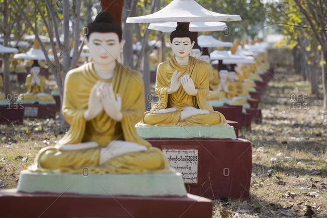 Rows of Buddha statues, Bodhi Tataung, Monywa, Burma