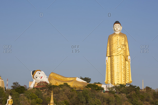 Bodhi Tataung, golden reclining and standing buddhas near Monywa, Sagaing Division, Myanmar