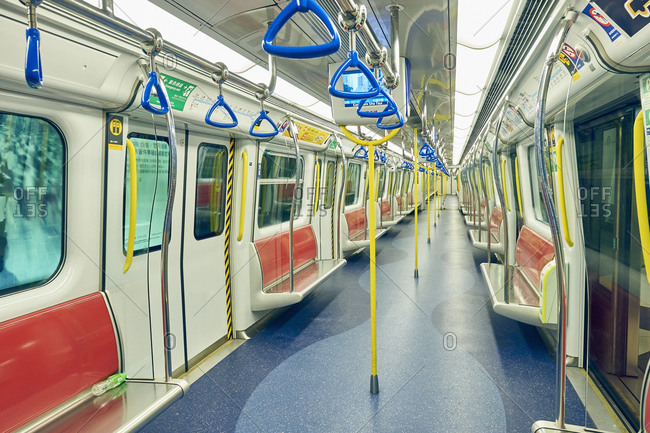 Empty underground train carriage, Hong Kong, China