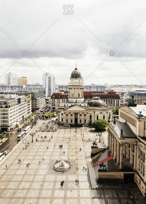 View of French Cathedral and Konzerthaus, Gendarmenmarkt, Berlin, Germany