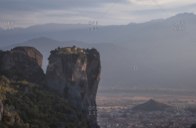 Holy Trinity Monastry and valley cityscape, Meteora, Greece