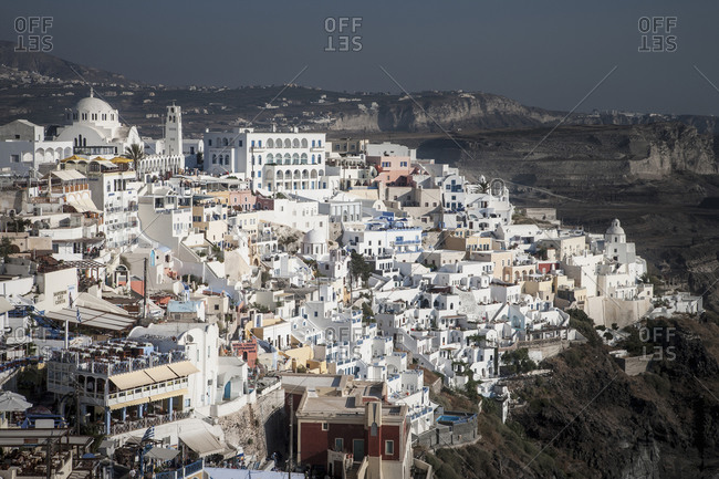 Townscape with white washed houses, Santorini, Greece