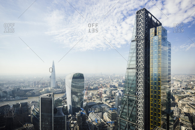 Elevated city view from The Gherkin, of 122 Leadenhall St, The Cheesegrater building, London, UK