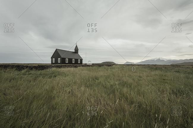 Budarkirkja church in field landscape, Budir, Snaefellsnes Peninsula, Iceland