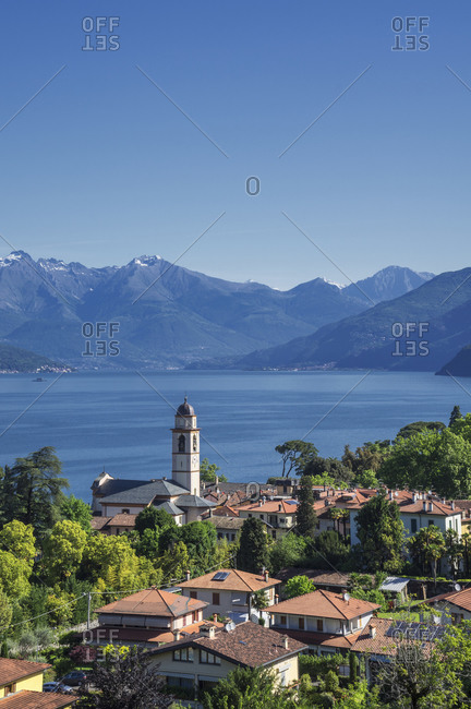 Elevated view of Bellagio village and Lake Como, Italy