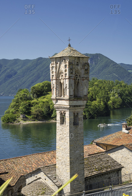 Elevated view of Ossuccio bell tower, Lake Como, Italy
