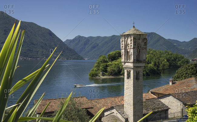 Elevated view of Ossuccio rooftops and bell tower, Lake Como, Italy
