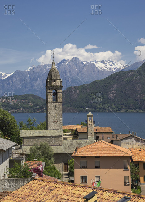 Elevated view of bell tower and rooftops,  Lake Como, Italy