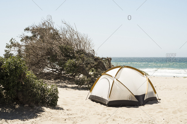 Dome tent on beach, Lompoc, California, USA