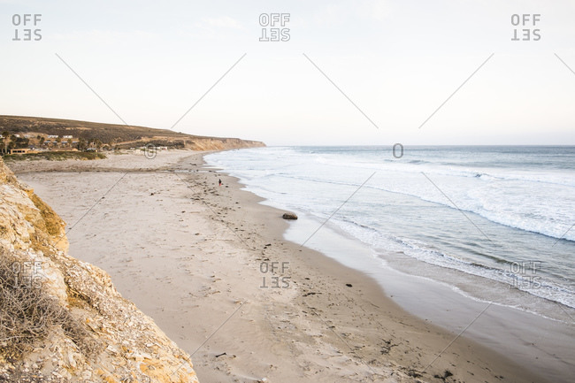 Elevated view of empty beach, Lompoc, California, USA