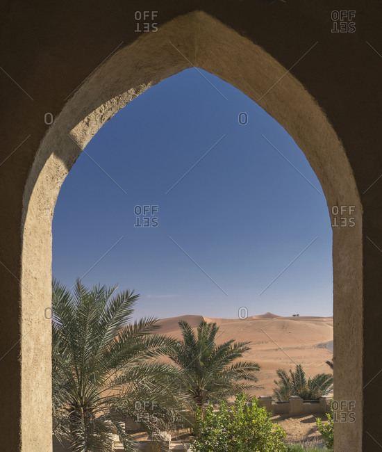 Date palms and sand dunes in the Empty Quarter Desert, between Saudi Arabia and Abu Dhabi , UAE