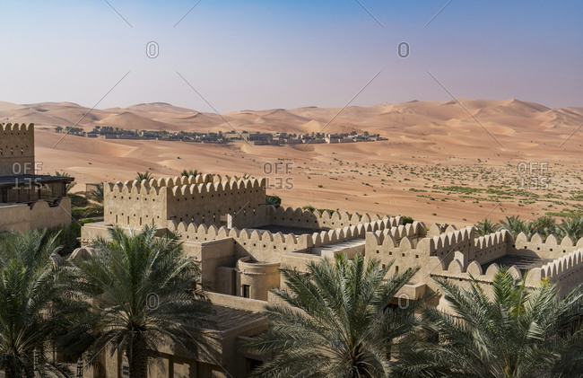High angle view of exterior of Qsar Al Sarab desert resort, Empty Quarter Desert, Abu Dhabi, United Arab Emirate