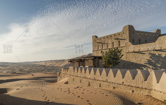 Exterior of Qsar Al Sarab desert resort, Empty Quarter Desert, Abu Dhabi, United Arab Emirate