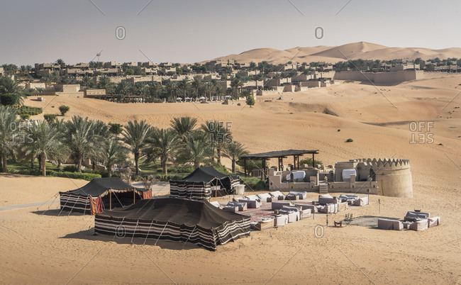 High angle view of large tents at Qsar Al Sarab desert resort, Empty Quarter Desert, Abu Dhabi, United Arab Emirate