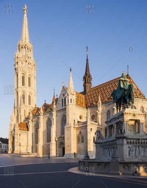Exterior of Matthias Church at dawn, Fishermans Bastion, Budapest, Hungary