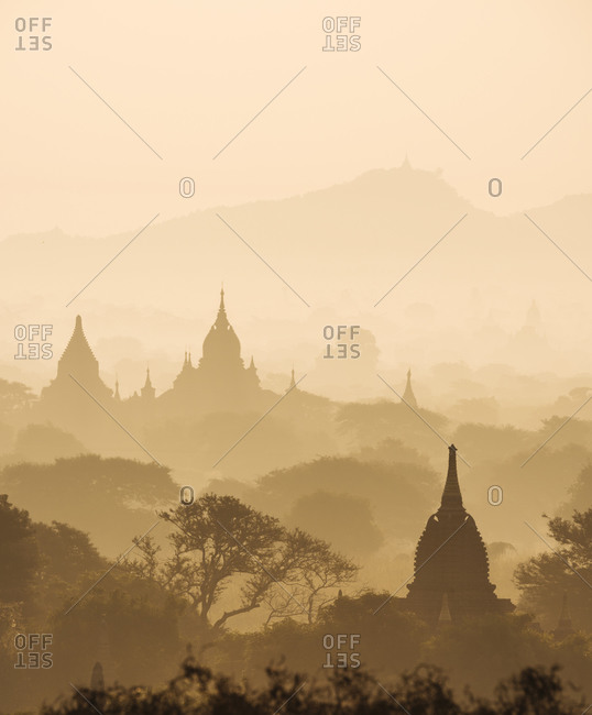 Scenic view of Bagan at sunset, Mandalay Region, Myanmar