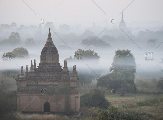 Misty stone pagodas, Bagan, Mandalay Region, Myanmar