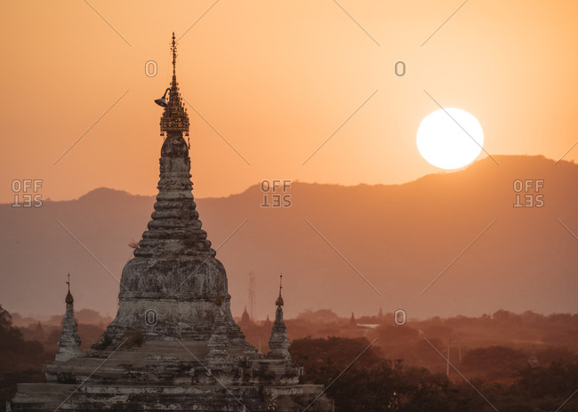 Buddhist pagoda at sunset, Bagan, Mandalay Region, Myanmar