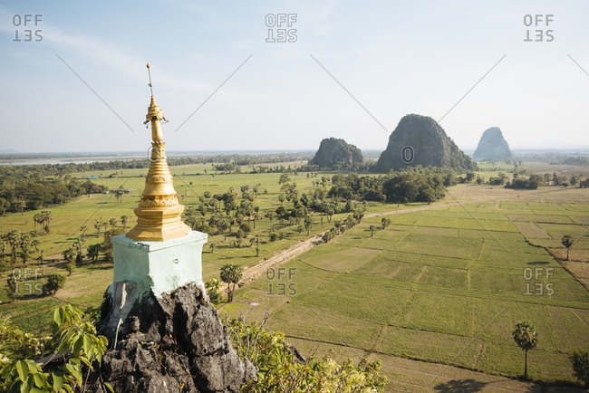 Mountains and Kaw Gon Pagoda, Hsipaw, Shan State, Myanmar