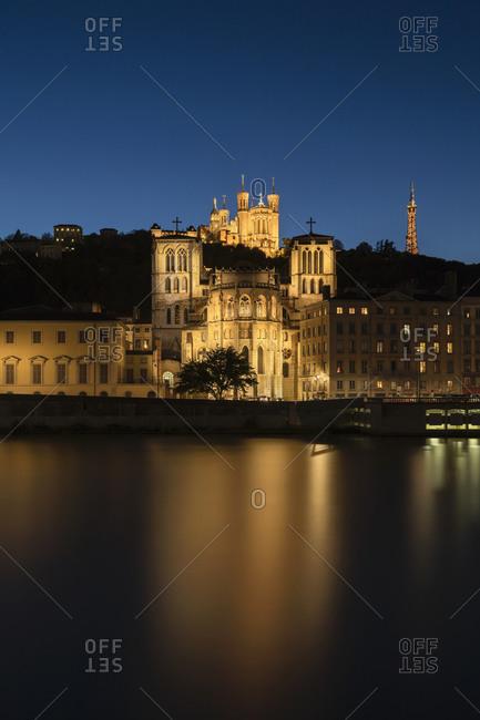 River Sane with Basilica of Notre-Dame de Fourviere, and Cathedrale Saint-Jean-Baptiste, Lyon, France