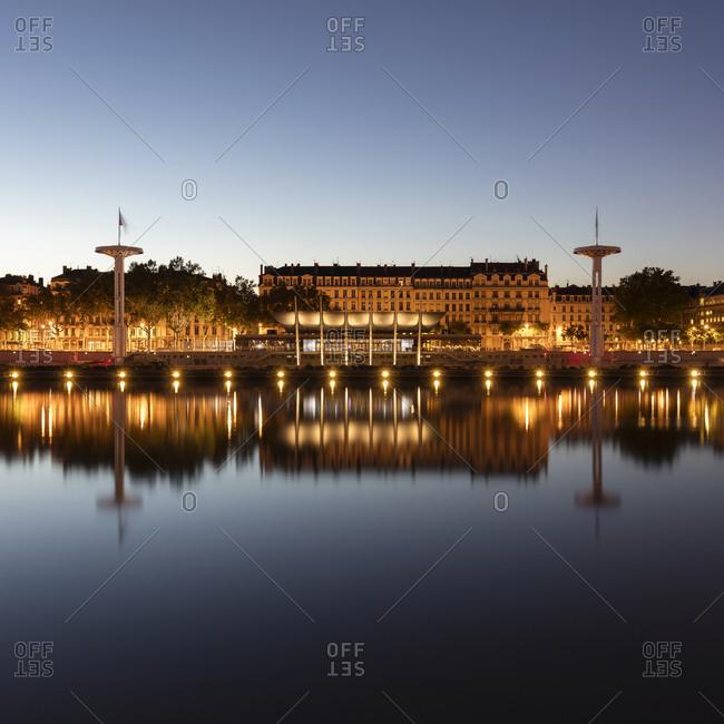 Rhones Pool at dusk, Lyon, France