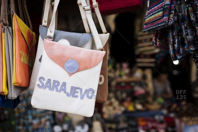 Souvenir Sarajevo shoulder bags on stall, Sarajevo, Bosnia & Hercegovina