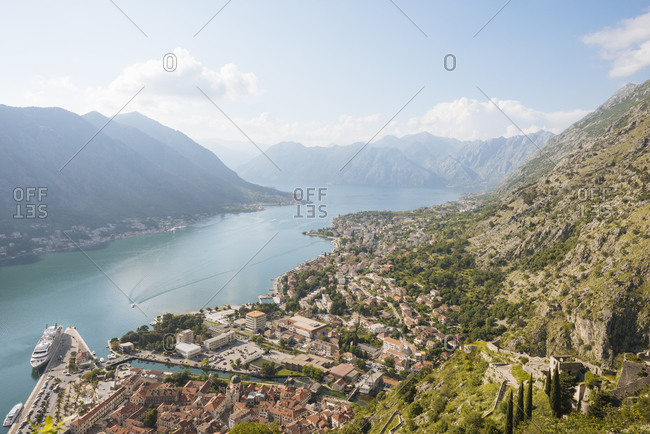 View of mountains and Bay of Kotor from Kotor town walls, Montenegro