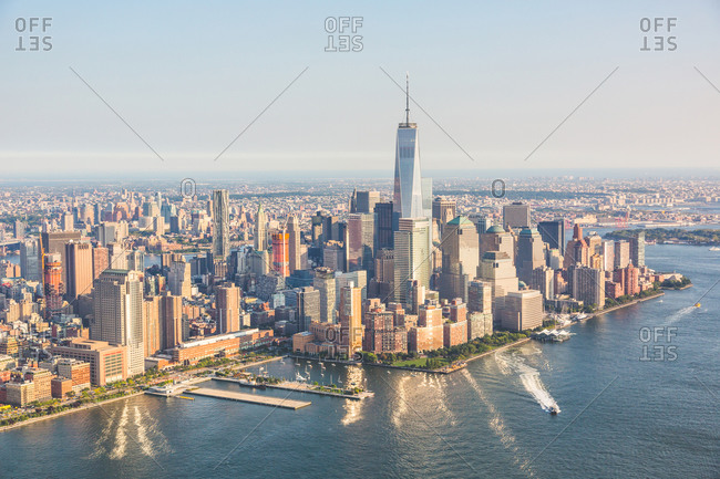 Aerial view of Lower Manhattan and One World Trade Center, New York City, New York, USA