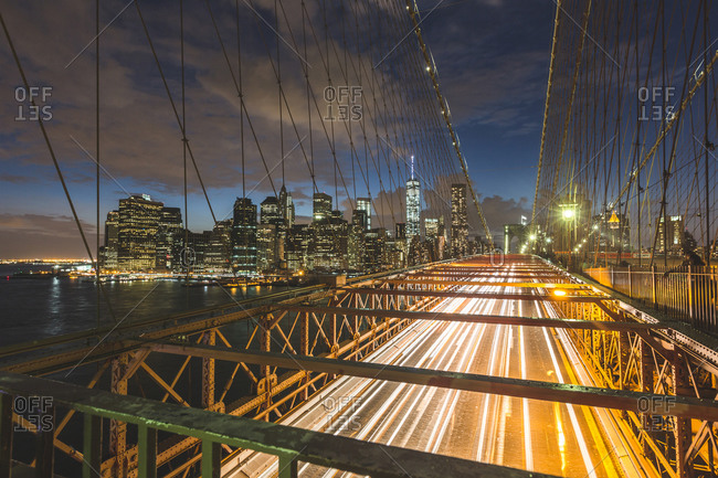 Brooklyn Bridge at dusk, New York City, New York, USA