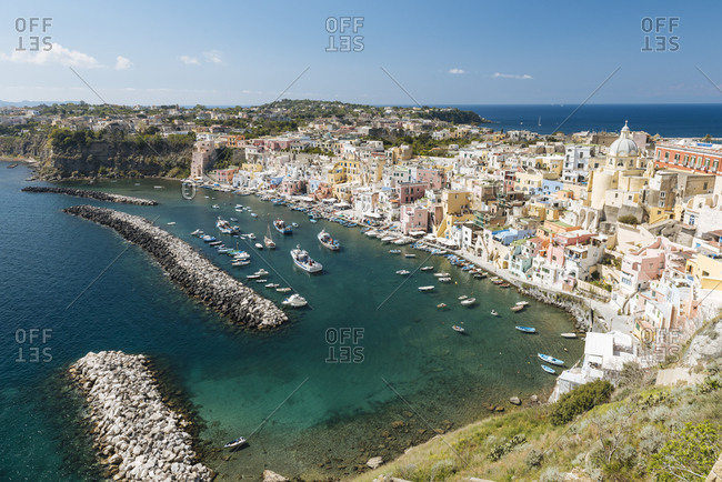 Elevated view of buildings and waterfront at Procida island, Campania, Italy
