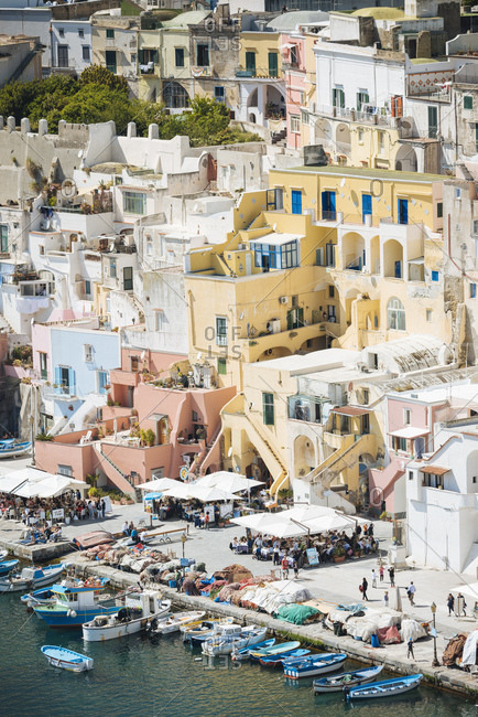 Buildings and waterfront at Procida island, Campania, Italy