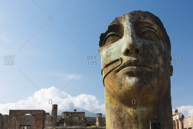 Remains of sculptured face at Pompeii, Campania, Italy