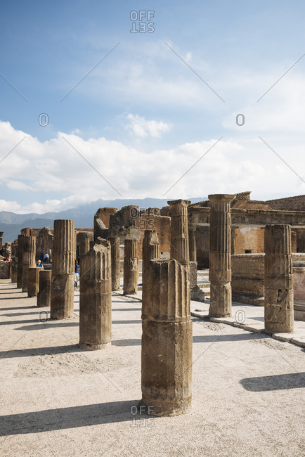 Remains of columns at Pompeii, Campania, Italy