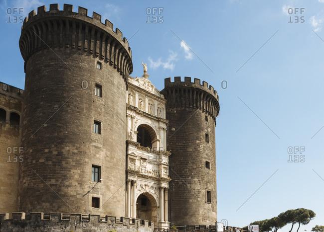 Castel Nuovo and blue sky, Naples, Campania, Italy