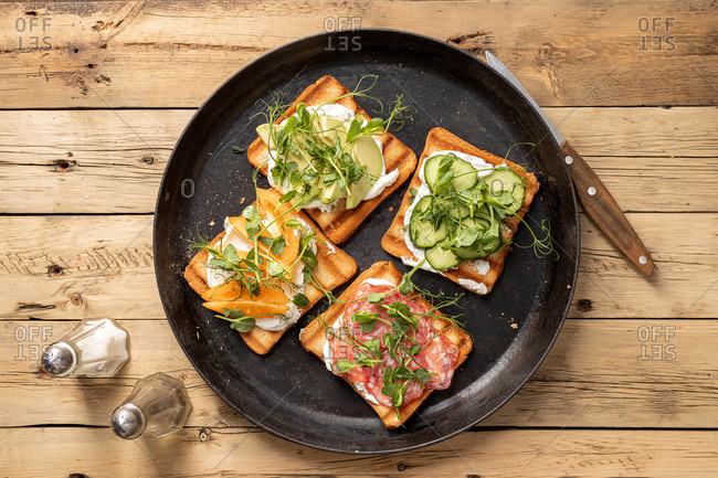 Top view of open-faced sandwiches