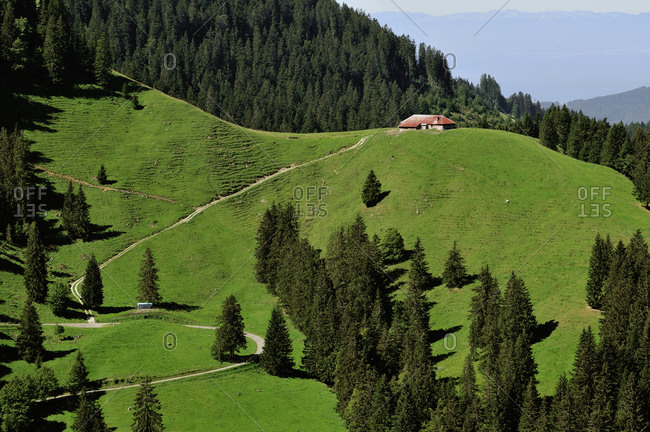 Switzerland, Fribourg canton, Les Paccots mountain station on Chatel-St-Denis district, alpin scenery around the Dent de Lys mount in summer