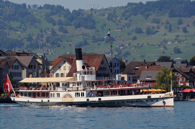 Switzerland - August 27, 2017: Switzerland, Luzern canton, on Lake of 4 Cantons off B�_rgenstock mount in arrival to Luzern