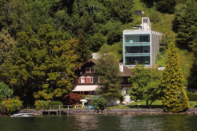 Switzerland - August 27, 2017: Switzerland, Luzern canton, on Lake of 4 Cantons, area of Weggis