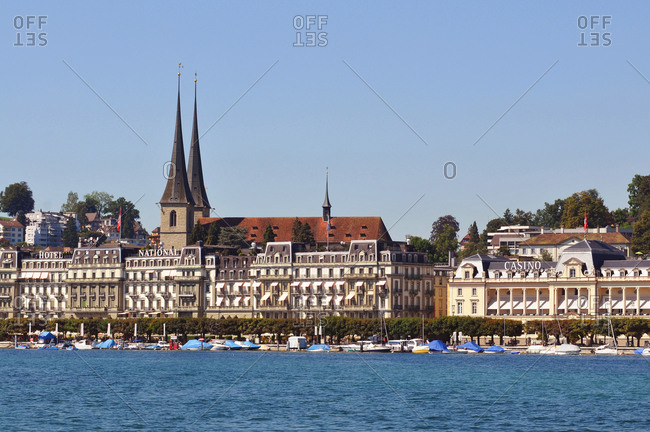 Switzerland - August 27, 2017: Switzerland, Luzern canton, on Lake of 4 Cantons, arriving in Lucerne harbor