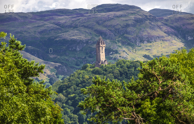 Europe, Great Britain, Scotland, Edinburgh area, monument to William Wallace near Stirling