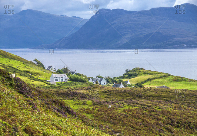 Europe, Great Britain, Scotland, Hebrides, south-east of the Isle of Skye, farms by the ocean at Point of Sleat