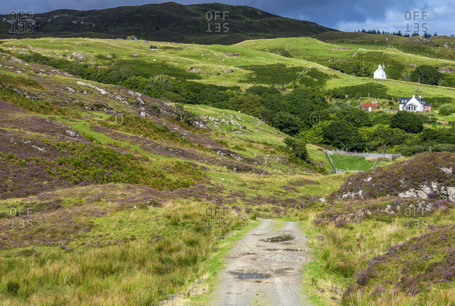 Europe, Great Britain, Scotland, Hebrides, south-east of the Isle of Skye, farms in the moor at Point of Sleat