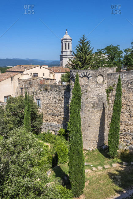 Spain, Catalonia, Girona, ramparts and bell tower of the Girona cathedral