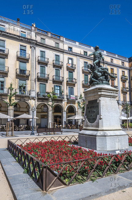 Spain - June 24, 2016: Spain, Catalonia, Girona, plaza de Sant Agusti (de la Independencia), monument to the defenders of Girona in 1809